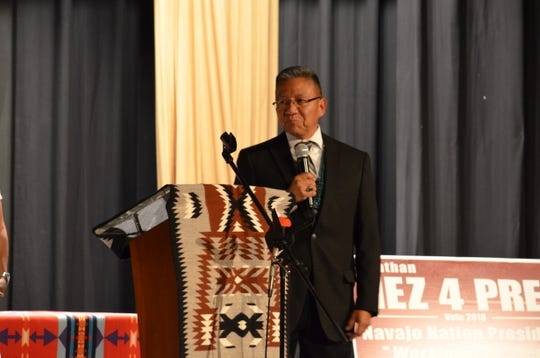 Business owner Myron Lizer was named the vice presidential candidate for the Jonathan Nez campaign on Tuesday in Window Rock, Ariz.