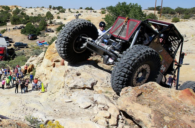 Steve Nantz of Moab, Utah competes in the World Extreme Rock Grand National Championship on Saturday Sept. 10, 2016, in Chokecherry Canyon in the Glade Run Recreation Area.