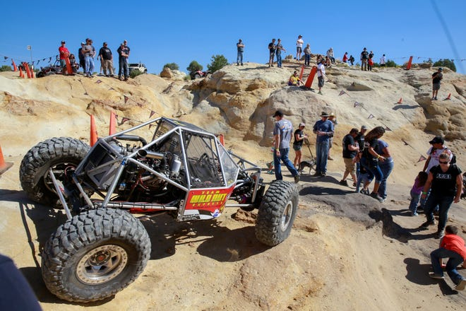 Spectators watch the World Extreme Rock Grand National Championship on Saturday Sept. 10, 2016, in Chokecherry Canyon in the Glade Run Recreation Area.