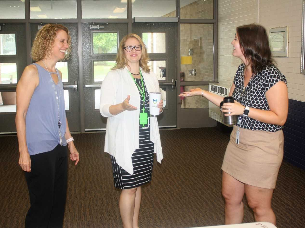 Sayre staff members (from left) Lori Loewer, Susan Maurus and Bridget O'Reilly are ready to get the 2018-19 school year rolling.