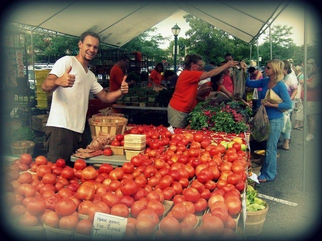 Tomatoes are a popular, high season weekly staple at the farmers market