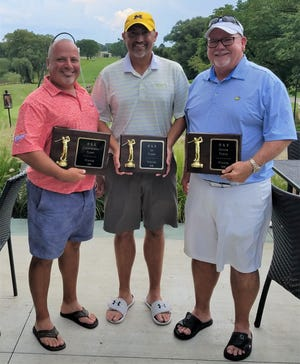 First-place winners at this year's O&E Men's Golf Open including (from left) Raz Boghikian (Championship flight), Barry Slegers (First flight) and Dan Longeway (Senior flight).