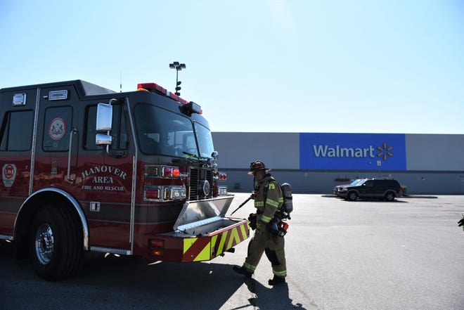 Units from Hanover Area Fire and Rescue are seen outside Walmart on Eisenhower Drive. The store was briefly evacuated Tuesday for a possible gas leak.