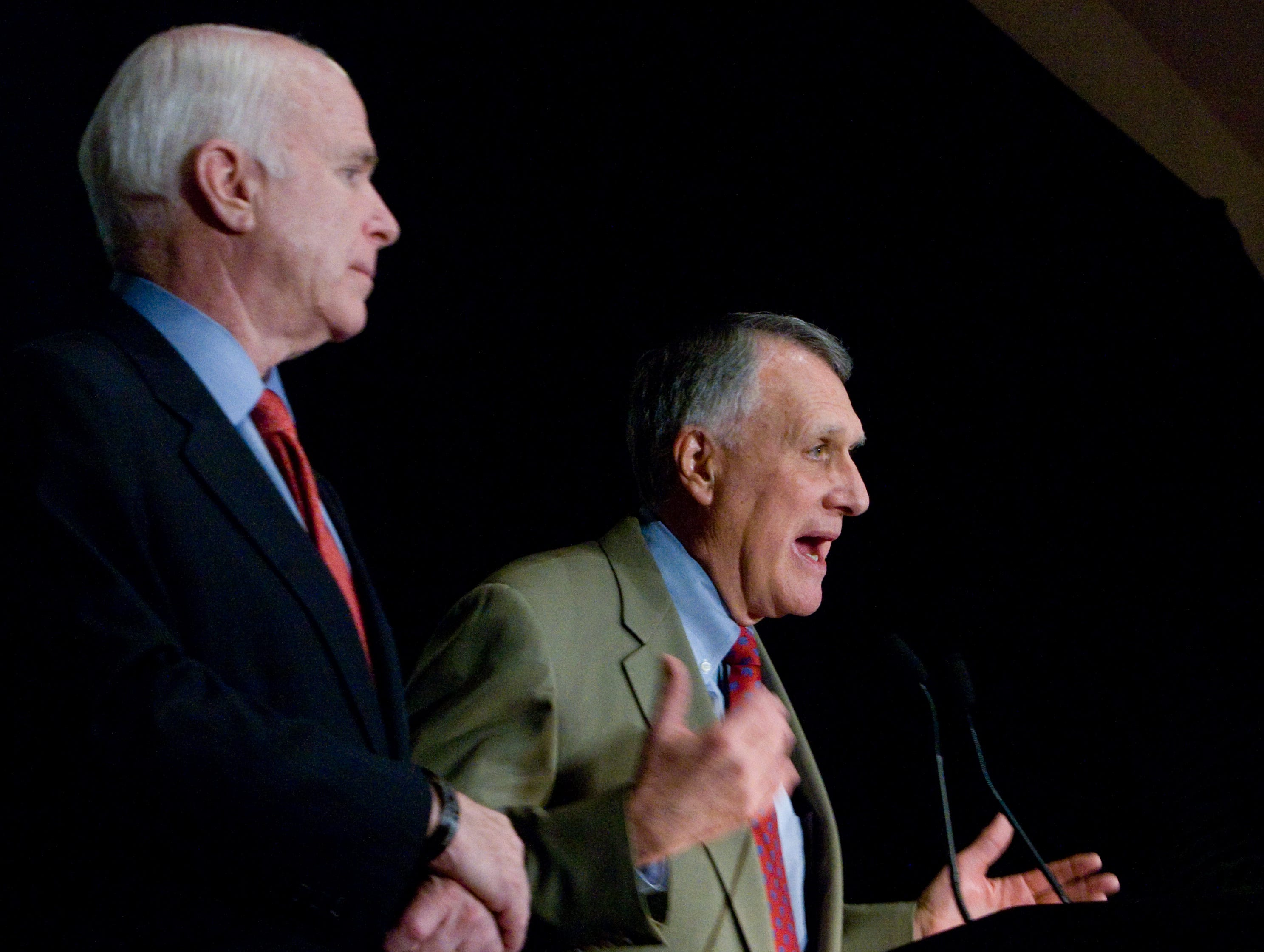Arizona Senators John McCain and Jon Kyl speak during Wednesday's Arizona Chamber of Commerce luncheon at the Scottsdale Plaza Resort, April 15, 2009.