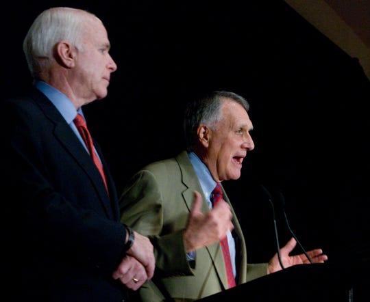 Arizona Senators John McCain and Jon Kyl speak during Wednesday's Arizona Chamber of Commerce luncheon at the Scottsdale Plaza Resort, April 15, 2009.