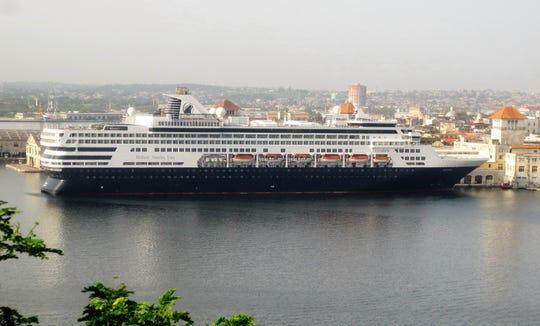 The 1,400-passenger Holland America Veendam docked in Havana.