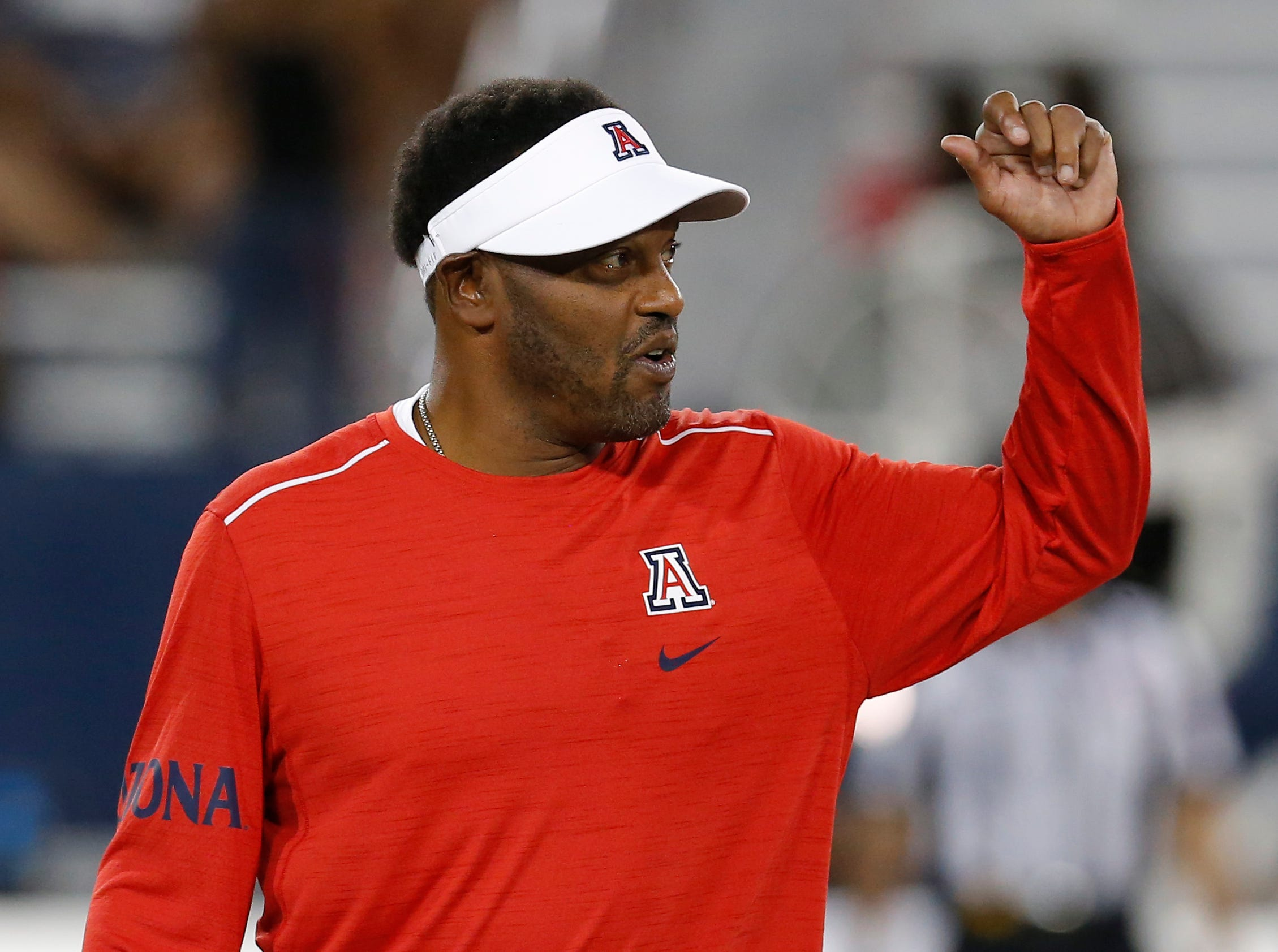 Arizona head coach Kevin Sumlin coaches against BYU on Saturday, Sept. 1, 2018, in Tucson.