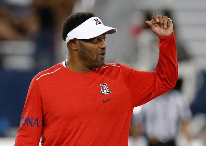 Arizona head coach Kevin Sumlin coaches against BYU on Saturday, Sept. 1, 2018, in Tucson.