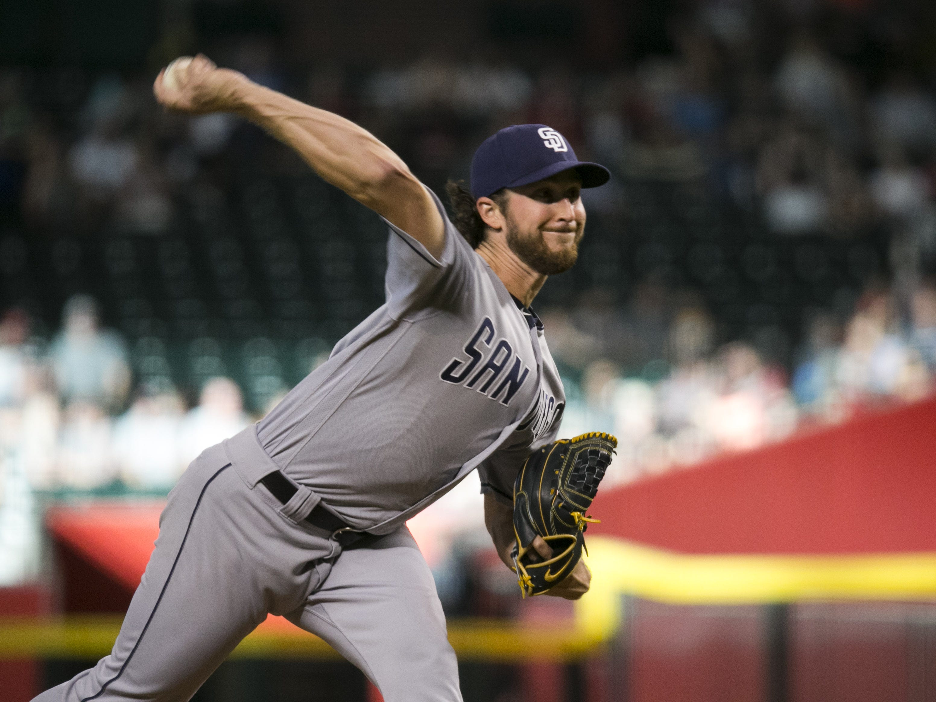 Padres pitcher Bryan Mitchell pitches against the Diamondbacks during the first inning of the major league baseball game at Chase Field in Phoenix on Monday, September 3, 2018.
