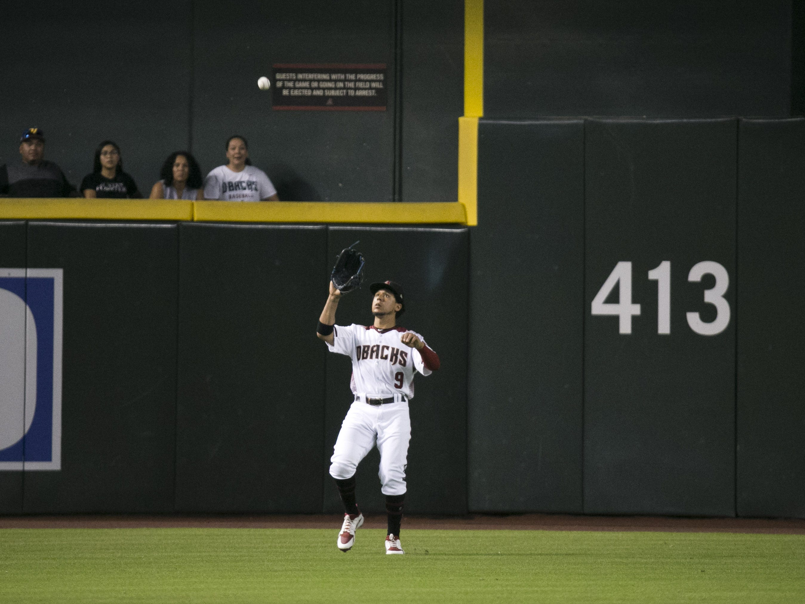 Diamondbacks outfielder John Jay catches a pop-up during the fifth inning of the major league baseball game against the Padres at Chase Field in Phoenix on Monday, September 3, 2018.