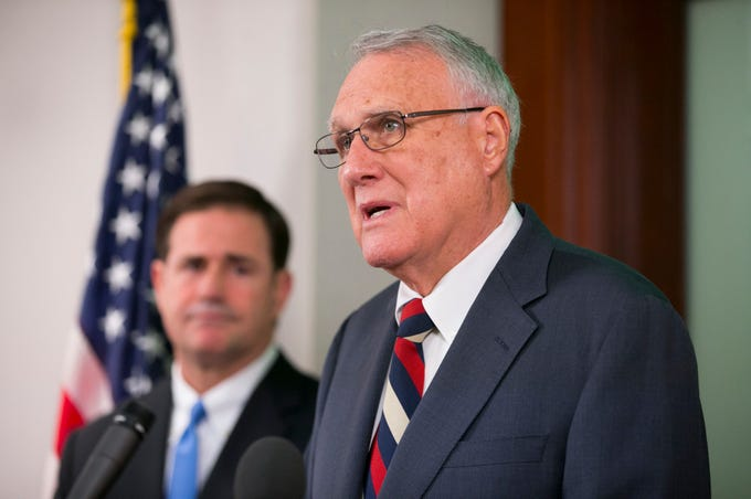 Former U.S. Sen. Jon Kyl speaks after Gov. Doug Ducey announces his appointment to the late Sen. John McCain's Senate seat during a press conference at the state Capitol in Phoenix on Sept. 4, 2018.