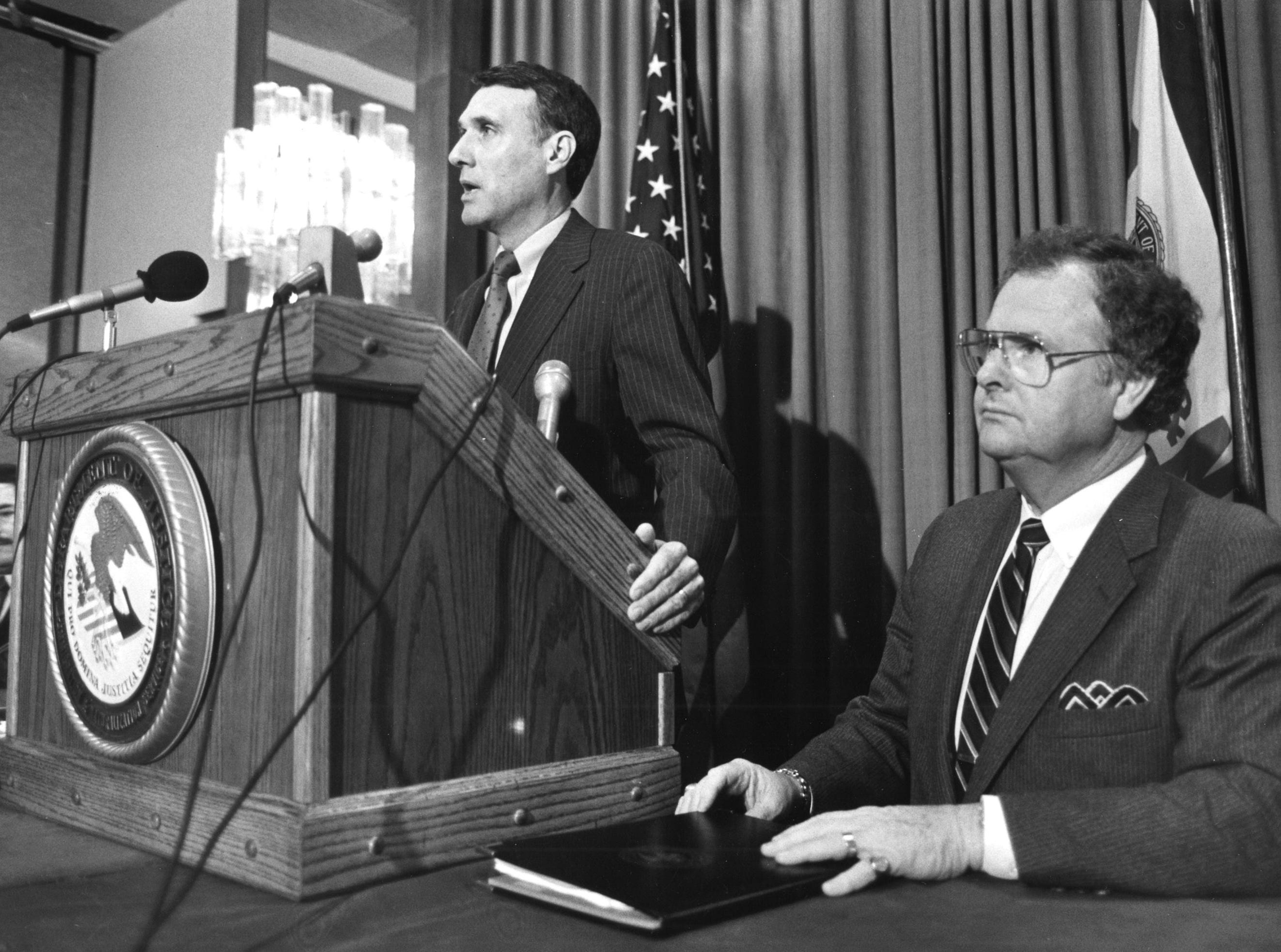Arizona Rep. Jon Kyl and Immigration and Naturalization Service regional direction Harold Eyell, April 4, 1987.