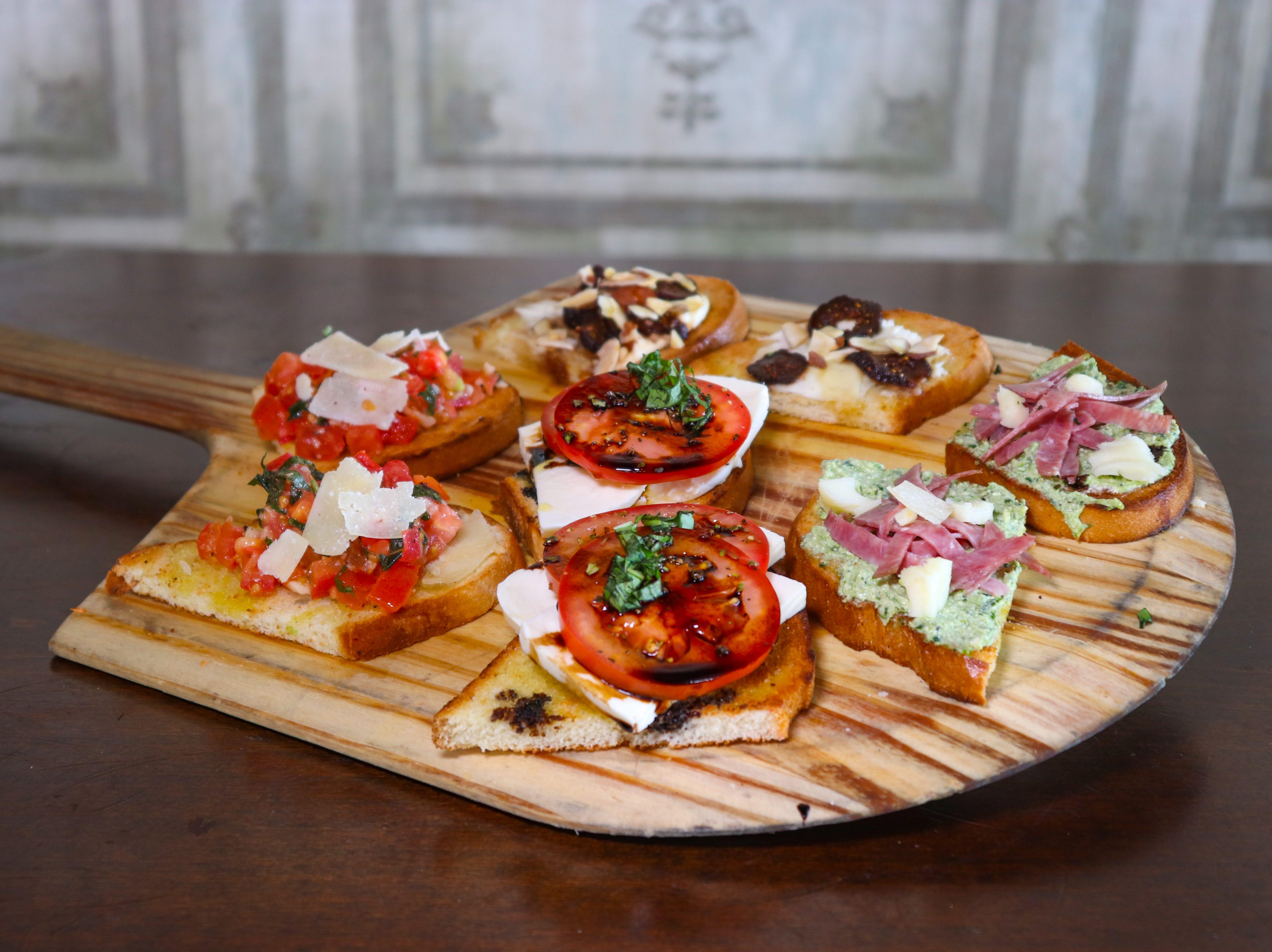 Bruschetta board at Crust Pizzeria and Italian restaurant.