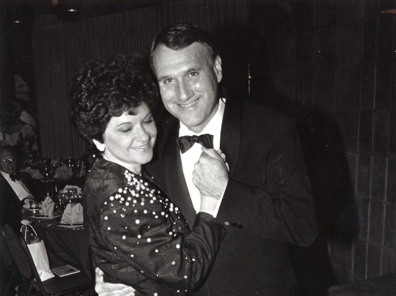 Jon Kyl with his wife Caryll Kyl dancing on April 30, 1990.