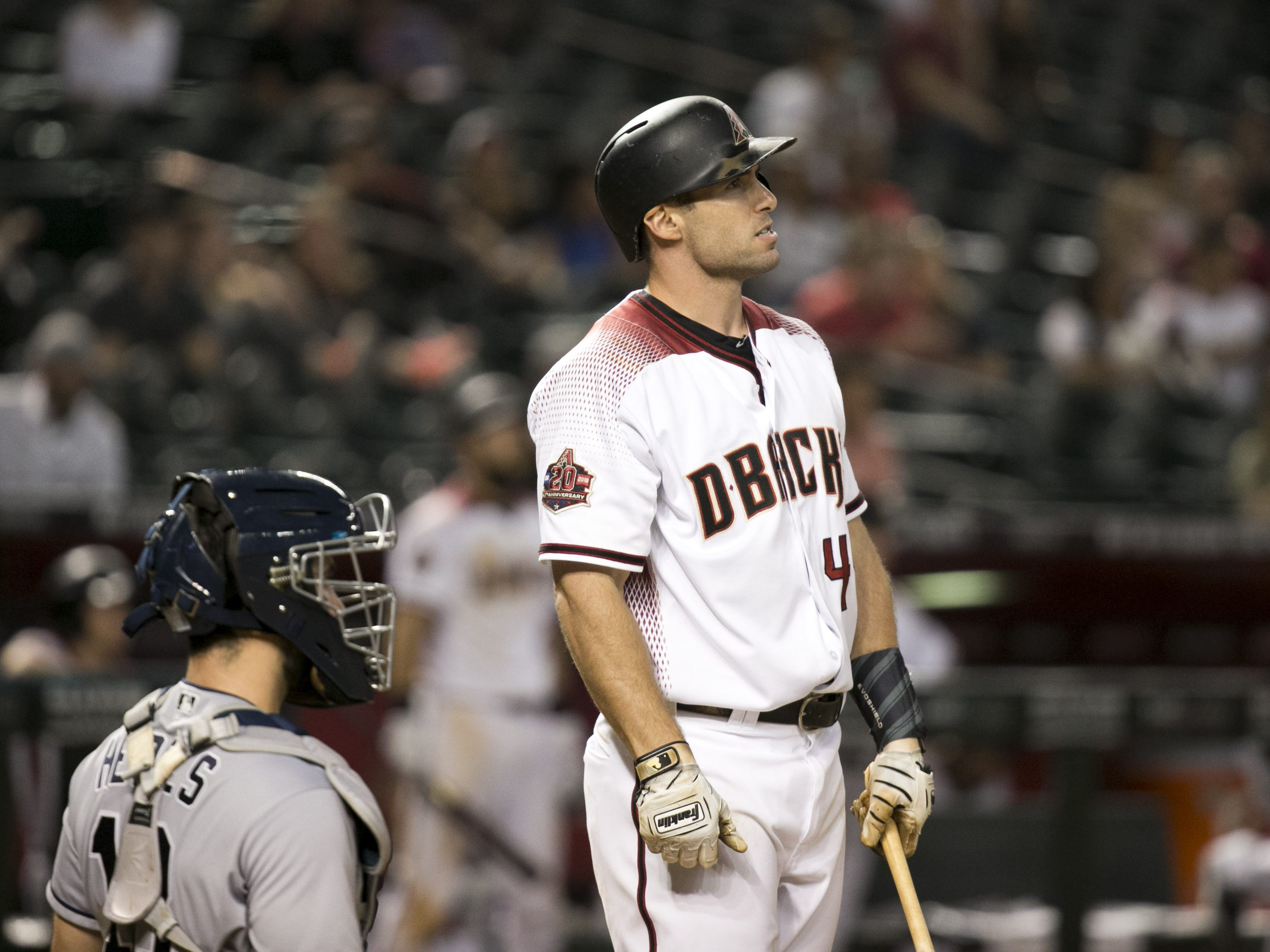 Diamondbacks first baseman Paul Goldschmidt  looks on during his at bat in the eighth inning against the Padres of the major league baseball game at Chase Field in Phoenix on Monday, September 3, 2018.