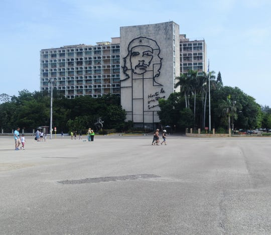 A steel monument to Che Guevara in Havana's Revolution Square.
