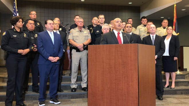 FBI Phoenix Special Agent in Charge Michel DeLeon speaks at a press conference about hoax threats posted on social media. The event was held at the Deer Valley Unified School District Governing Board Room in Phoenix on Tuesday.