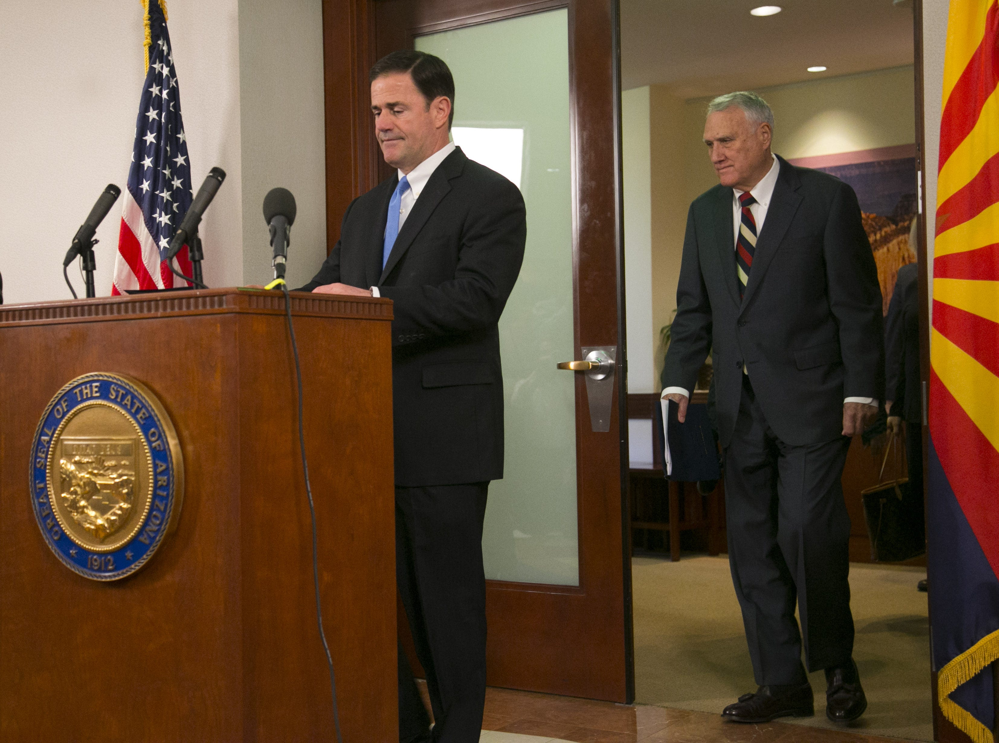 Gov. Doug Ducey prepares to speak to the press on Sept. 4, 2018, about the appointment of former U.S. Sen. Jon Kyl to the seat of the late Sen. John McCain, who died Aug. 25.
