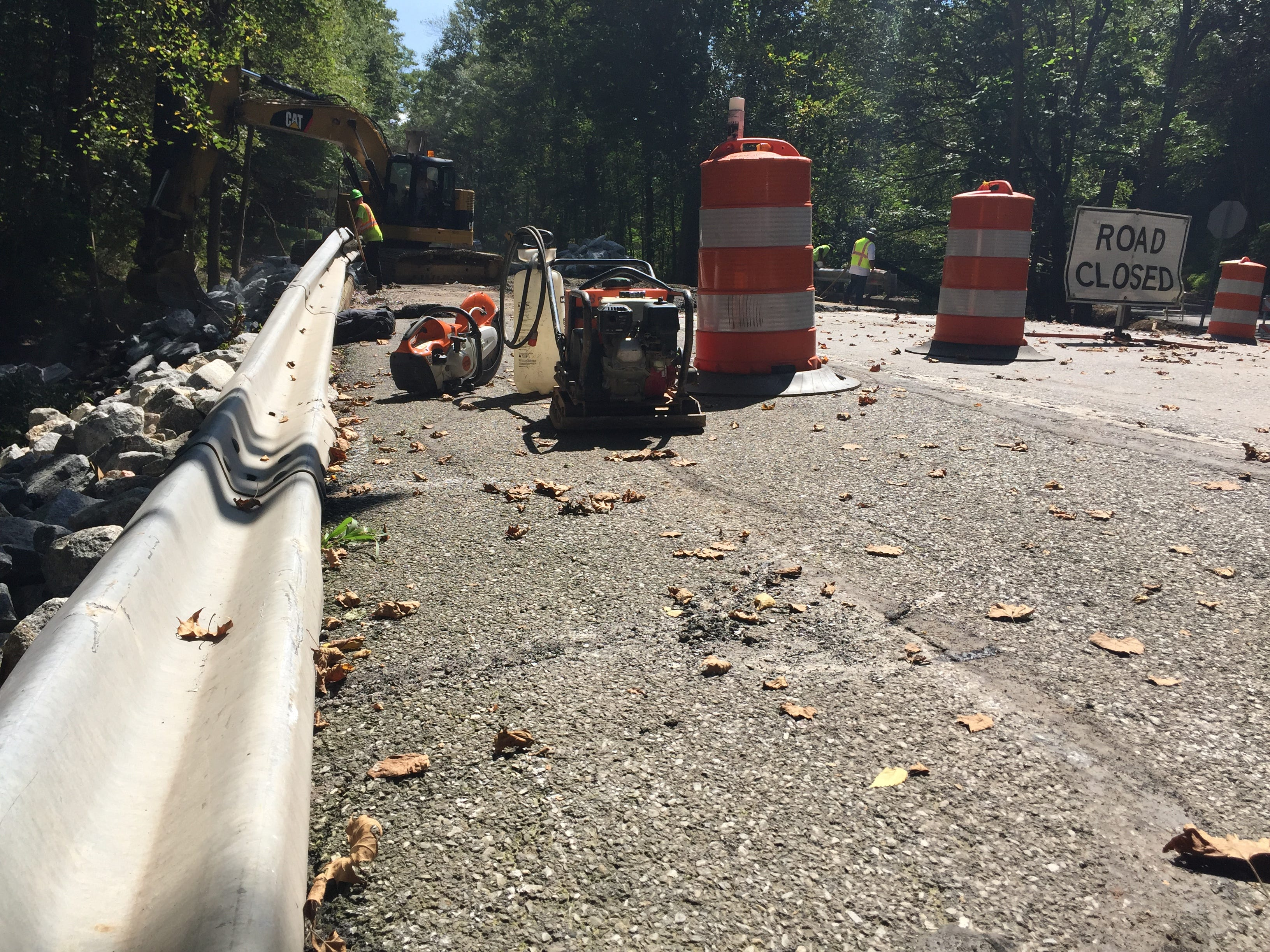 Crews contracted by PennDOT working on the bridge over Hammer Creek on Route 322 in Elizabeth Township, Lancaster County Sept. 4, 2018. The bridge was washed out by floodwaters Aug. 31 causing Route 322 to be closed in Lebanon County at Boyd Street in Cornwall Borough. The roadway is expected to be opened by Sept. 14.