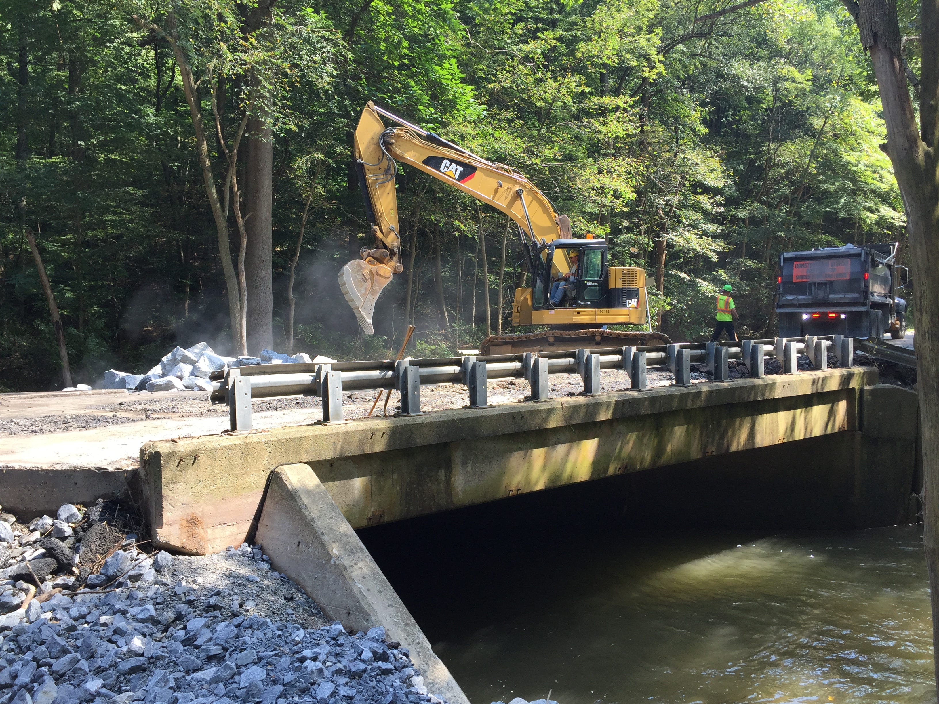The bridge over Hammer Creek on Route 322 in Elizabeth Township, Lancaster County Sept. 4, 2018. The bridge was washed out by floodwaters Aug. 31 causing Route 322 to be closed in Lebanon County at Boyd Street in Cornwall Borough. The roadway is expected to be opened by Sept. 14.