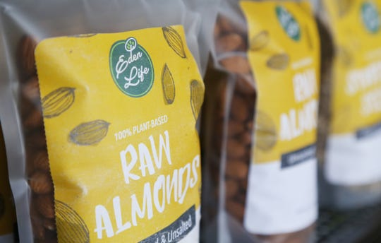 Eden Life branded raw almonds at Eden Life Market, a health food store in Pleasant Valley on August 23, 2018. Eden Life is the private brand of the store, which the owners hope will help bring the costs of healthy and organic foods down.