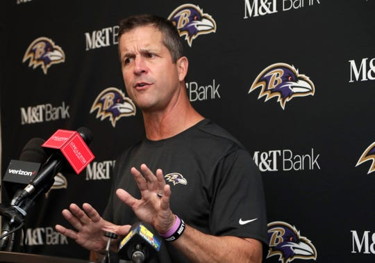 Coach John Harbaugh's Baltimore Ravens are off to a 5-2 start.