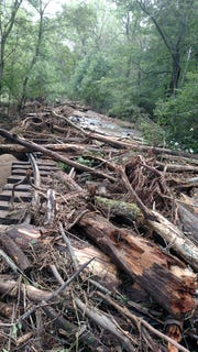 Debris from flooding causes damage at Ma & Pa Railroad Heritage Village Friday, Aug. 31. Photo courtesy of Water Miller.