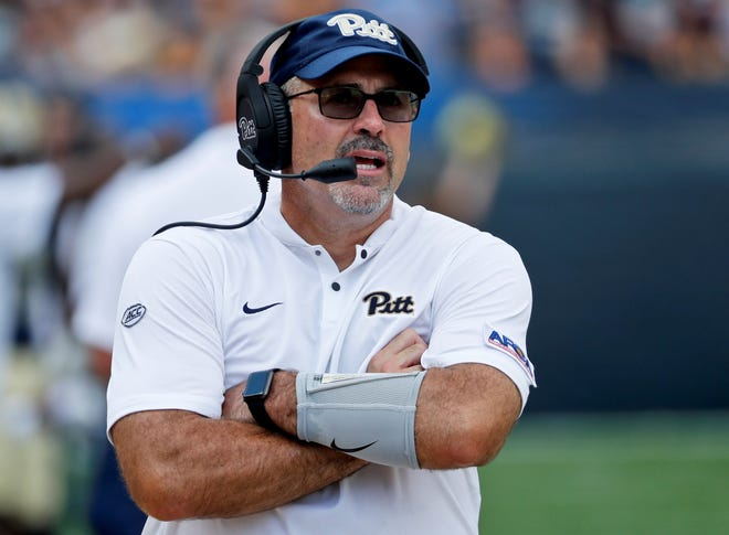 Pittsburgh head coach Pat Narduzzi on the sideline during an NCAA football game against the Albany, Saturday, Sept. 1, 2018, in Pittsburgh. (AP Photo/Keith Srakocic)