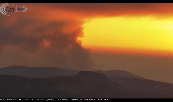 An Alert Tahoe fire camera captured the sun setting over the North Fire burning near Emigrant Pass in the Tahoe National Forest Monday afternoon.
