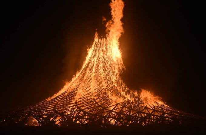 The temple Galaxia burns on the playa at Burning Man on Sept. 2, 2018.