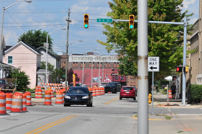 A bike path is being added to the west side of North Seventh Street running from East Main Street to Fort Wayne Avenue on Tuesday, Sept. 4, 2018.
