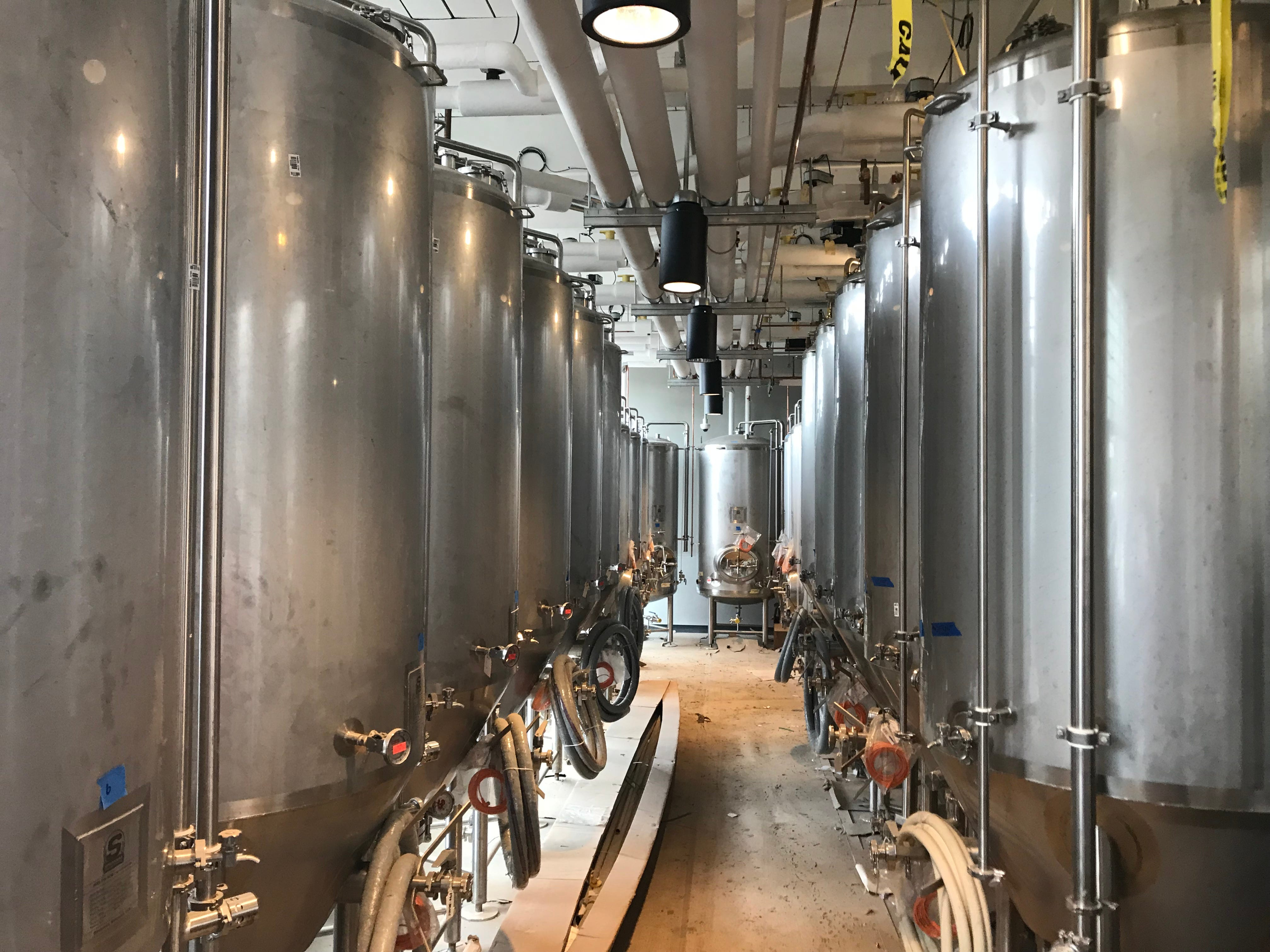 A line of fermentation tanks at the Labatt Brew House in Buffalo.