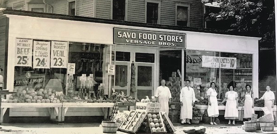 John Versage, grandfather of Linda Versage, is second from the left in this 1938 photo of the Versage Brothers market at 81 Marshall St. The site is now Marshall Street Bar and Grill.