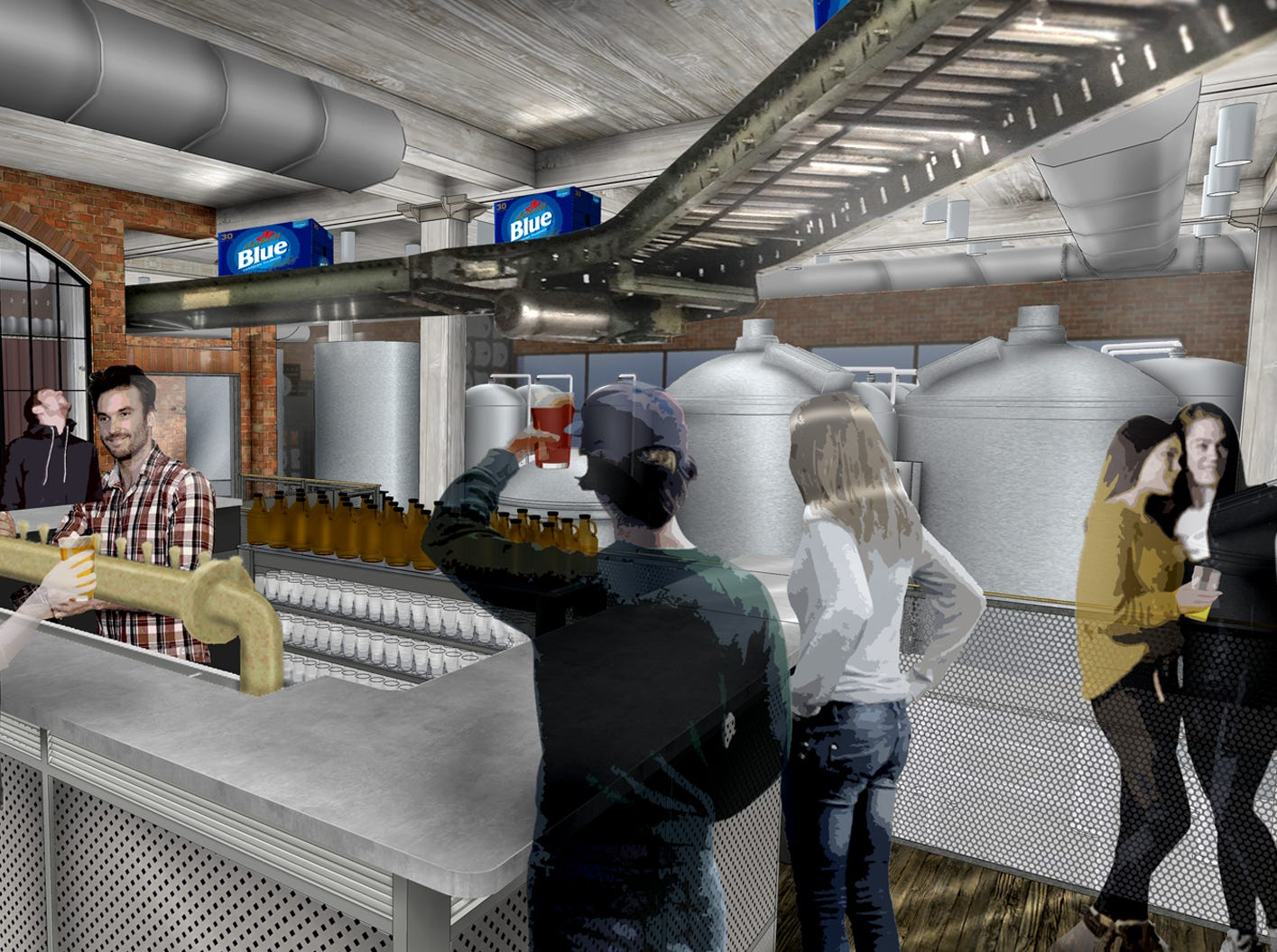 A rendering of the tasting room at the Labatt Brew House in Buffalo.