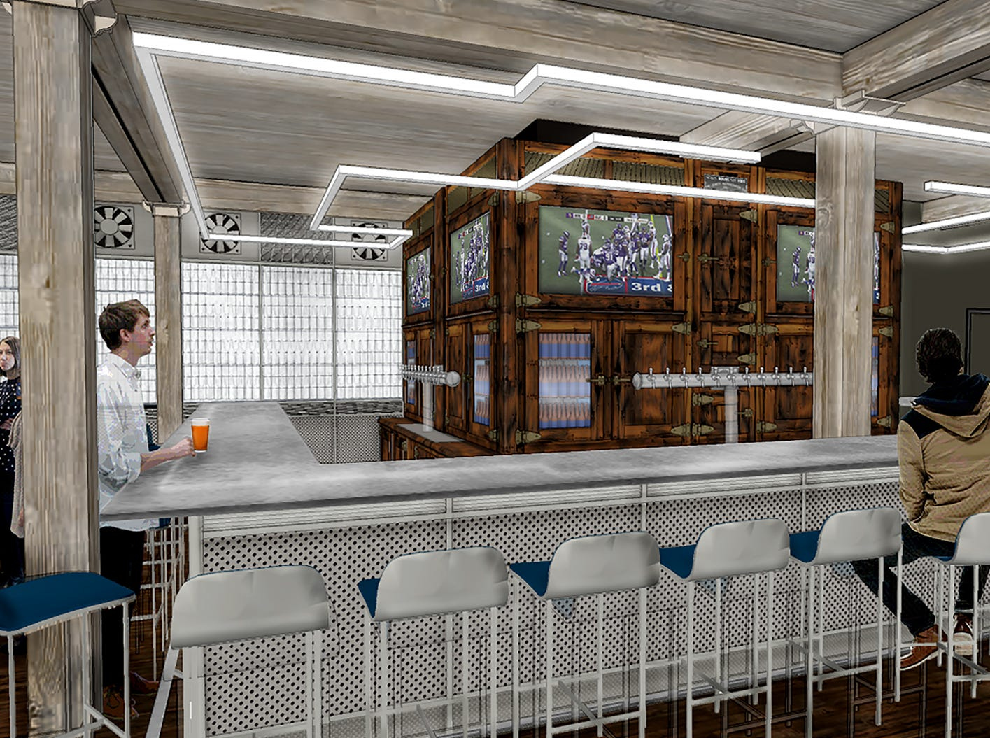 A rendering of the main bar at the Labatt Brew House in Buffalo.