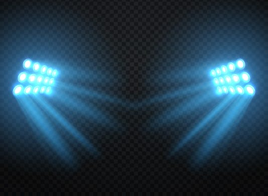 Stadium Lights Shiny Projectors Isolated Vector Spotlight Template