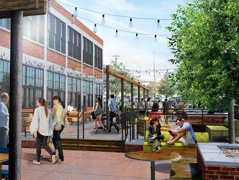 A rendering of the Labatt Brew House beer garden in Buffalo.