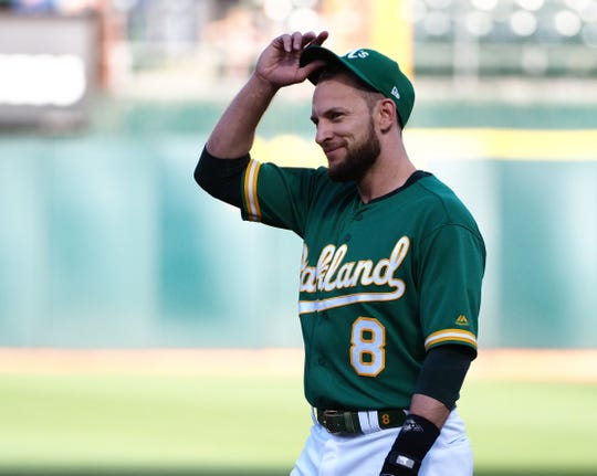 Jun 29, 2018; Oakland, CA, USA; Oakland Athletics third baseman Jed Lowrie (8) adjusts his hat between plays against the Cleveland Indians during the first inning at Oakland Coliseum. Mandatory Credit: Kelley L Cox-USA TODAY Sports