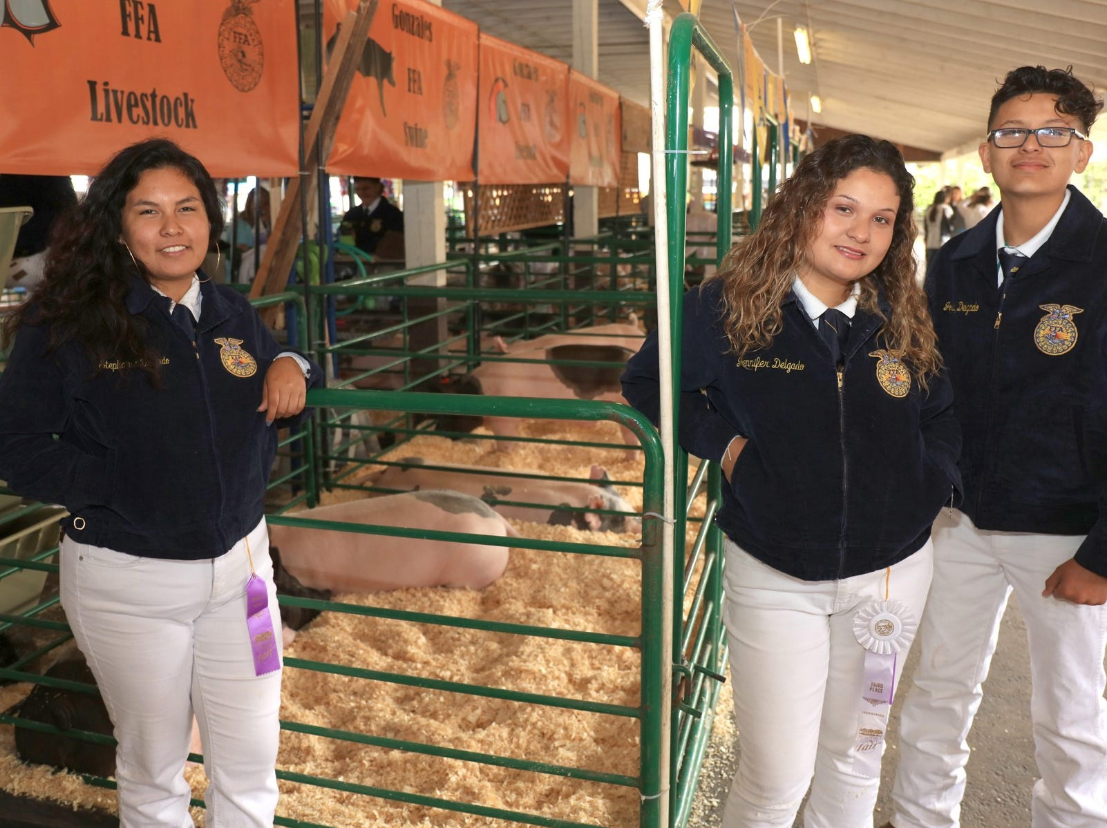 Pre-Auction with Stephanie, Joseph and Jennifer Delgado of Gonzales at the 2018 Monterey County Fair.