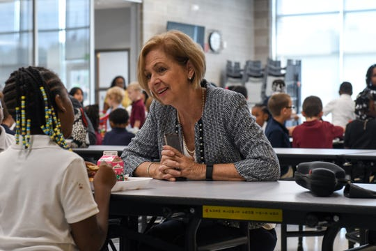 Superintendent Donna Hanlin talks with students at the new West Salisbury Elementary on the first day of school, Sept. 4.