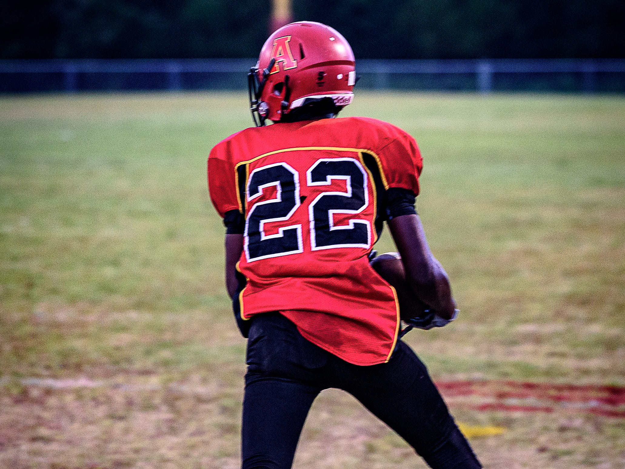 Arcadia's Jaden Hope runs the ball downfield during the game against Stephen Decatur High School of Berlin, Maryland.