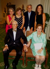 Garland Guth (clockwise, from right, seated) and husband John Guth Jr., with their children, Virginia Josey, Elizabeth Gray, John Guth III, Mary Ratcliff at John's 90th birthday party at the Shreveport Club.