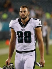 Philadelphia Eagles tight end Dallas Goedert after an NFL preseason football game against Pittsburgh Steelers Thursday, Aug. 9, 2018 in Philadelphia. (Winslow Townson/AP Images for Panini)