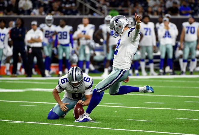 Dallas Cowboys kicker Brett Maher (2) kicks a field goal as teammate Chris Jones (6) holds during the second half of a preseason NFL football game Thursday, Aug. 30, 2018, in Houston. (AP Photo/Eric Christian Smith)