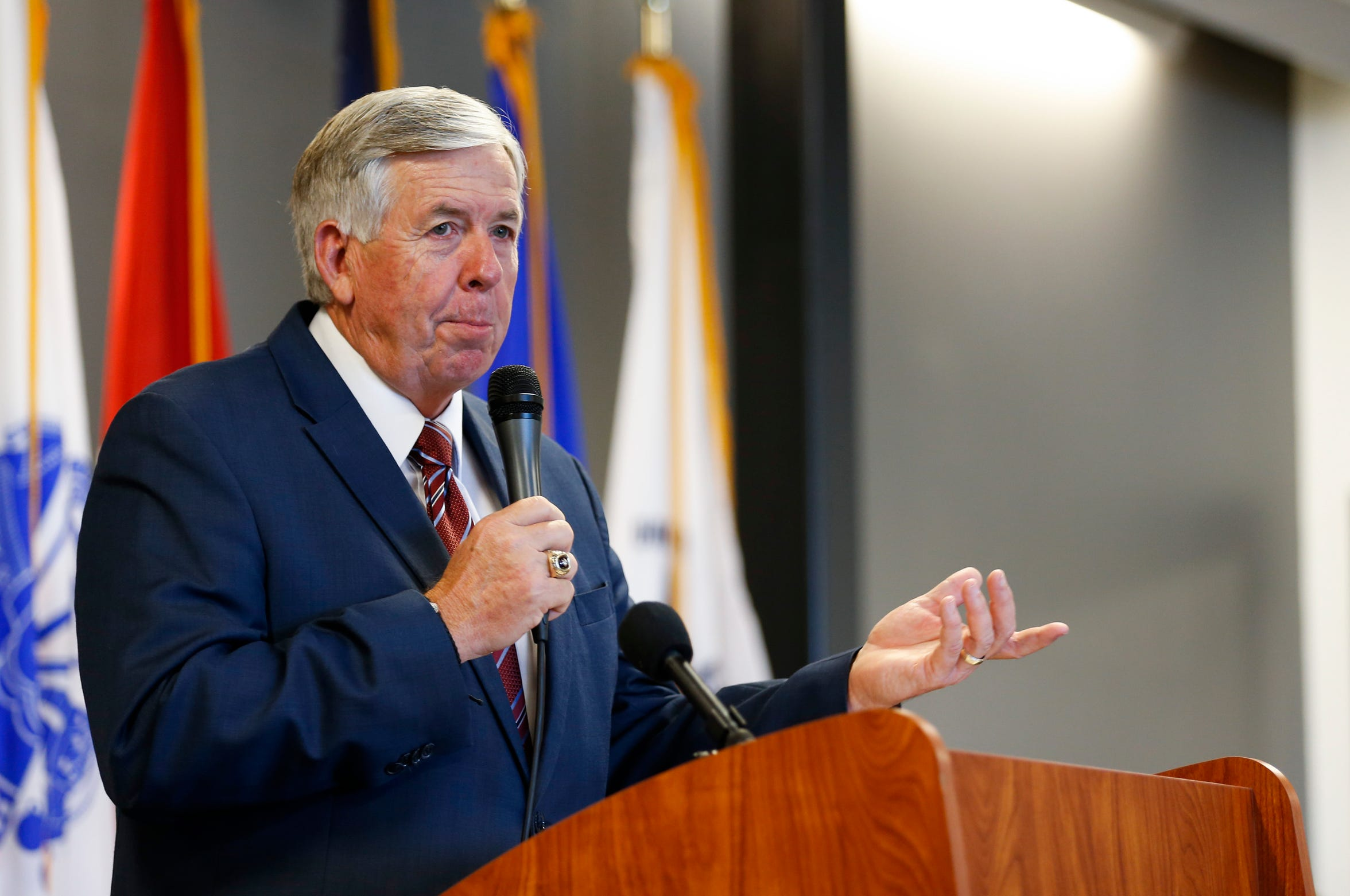 Missouri Gov. Mike Parson speaks to a room full of Missouri and local lawmakers and others on Tuesday, Sept. 4, 2018. The governor does not support minimum-wage increases at this time.