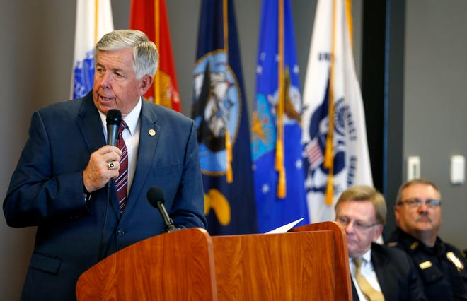 Missouri Gov. Mike Parson speaks to a room full of Missouri and local lawmakers and others on Tuesday, Sept. 4, 2018 to support legislation that could build on existing Missouri drug treatment courts.