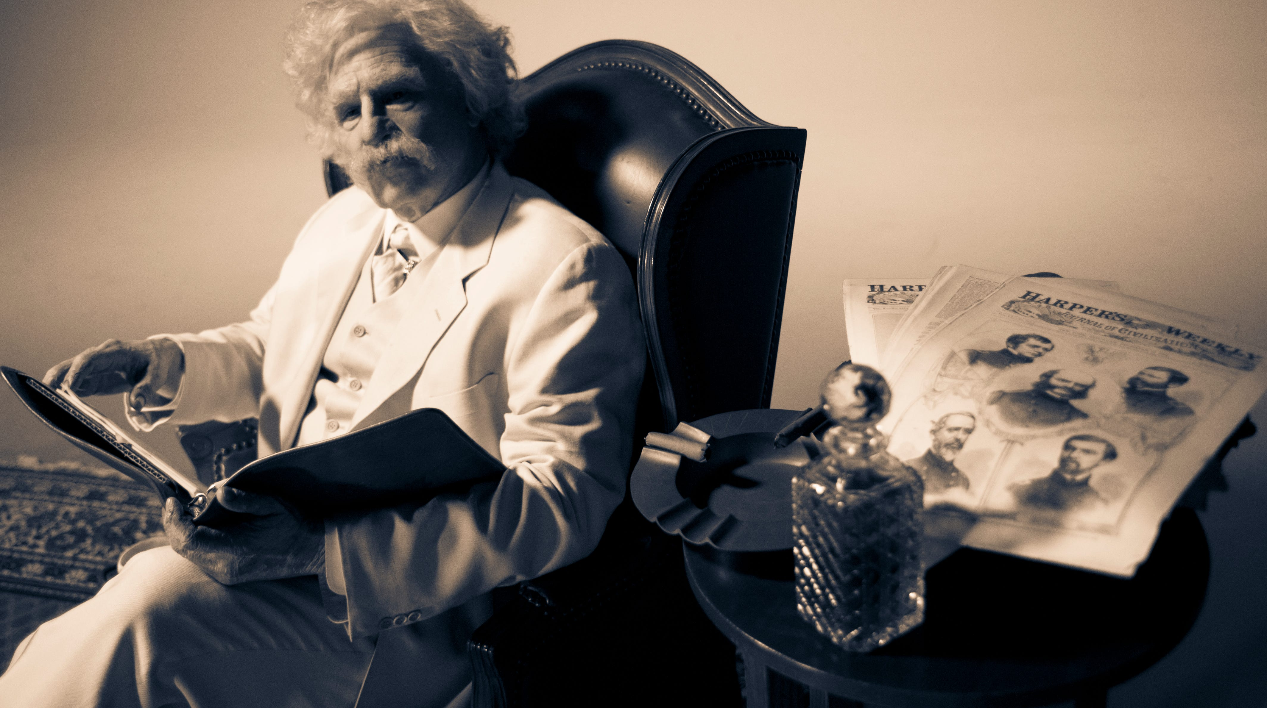 Val Kilmer is shown in this 2011 photograph in costume as the American author Mark Twain. Kilmer will be in Branson Sept. 29 for a screening of his one-man film about Twain. He'll introduce the movie and take questions from the audience afterward.