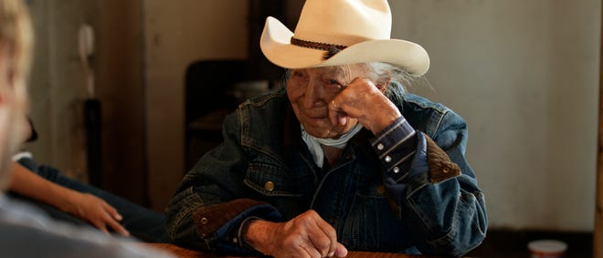 "Dave Bald Eagle, a Lakota elder, plays Dan in ""Neither Wolf Nor Dog."""