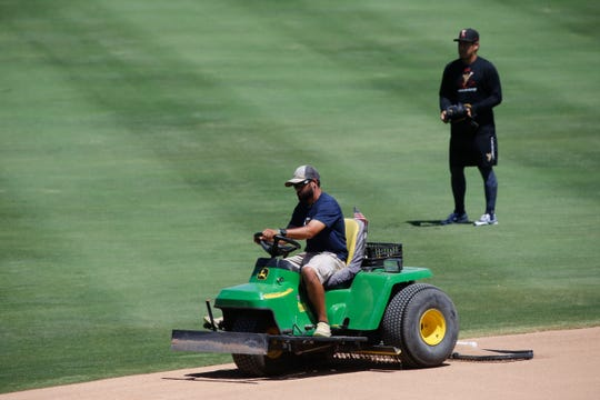 Groundskeepers, coaches and players prepare for the beginning of the 2018 Pacific Coast League playoffs beginning Wednesday night as they host the Fresno Grizzlies. The Chihuahuas and the Grizzlies will face off in the best-of-five series, with the first two games being played at Southwest University Park.