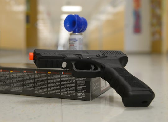 Airsoft guns and air horns are used to simulate the use of firearms during active shooter situations at Lakeside Middle School on Tuesday, September 4.